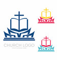 holy bible and jesus cross vector image vector image