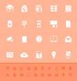 Home office color icons on orange background vector image vector image