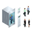 isometric design of the elevator with vector image vector image