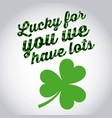 lucky for you we have lots st patricks day green vector image