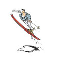 man skier jump cartoon vector image