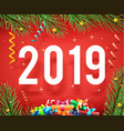 new year 2019 symbol icon confetti ribbons vector image vector image