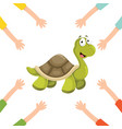 of cartoon hands with turtle vector image vector image
