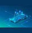 screen phone neon icon financial modern blue vector image