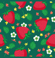 seamless pattern with strawberries leaves and vector image vector image