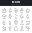 set linear icons wedding vector image