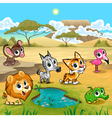 Set of funny wild animals in the nature vector image
