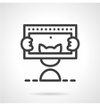 Simple line icon for photographing cat vector image vector image