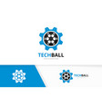 soccer and gear logo combination ball and vector image