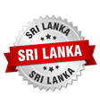 sri lanka round silver badge with red ribbon vector image vector image
