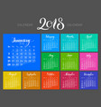 stylish menology 2018 january separately dark vector image