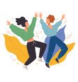 surprise party dancing female characters vector image