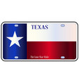 texas state flag license plate vector image vector image