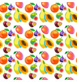 tropical fruits vitamin food seamless pattern vector image
