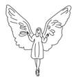 woman with big wing on her back vector image vector image