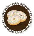 decorative frame with set donuts with strawberry vector image