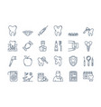 07 outline dental care icons set vector image vector image