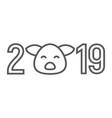 2019 pig year thin line icon celebration vector image vector image