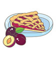 a slice of plum pie vector image
