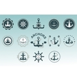 Anchor nautical symbols badges vector image