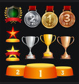 awards and trophies collection golden vector image vector image