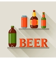 Background design with beer can and bottles vector image