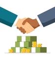 Bribe Handshake on money background The two men vector image