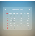 Calendar page for November 2014 vector image vector image