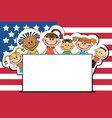 children on american flags banner independence day vector image vector image