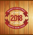 christmas greetings card with wood background vector image