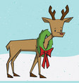 christmas holiday santas reindeer with wreath vec vector image