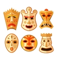 collection different wooden voodoo masks vector image