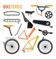 constructor of different bicycle parts and vector image
