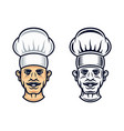 cook head in two styles graphic objects vector image vector image