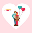 couple in love with heart-shaped balloons vector image