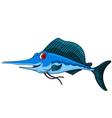 cute blue marlin cartoon vector image