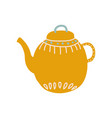cute orange teapot with spout ceramic crockery vector image
