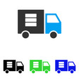 data transfer van flat icon vector image vector image