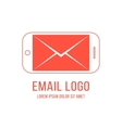 Email logotype with inverted red smartphone and
