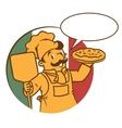 Emblem of funny cook or chef o baker with pizza vector image vector image