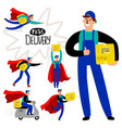 fast delivery courier set vector image