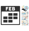 February Calendar Grid Flat Icon With Bonus vector image vector image