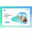 flat isometric landing page for ai future vector image vector image
