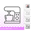 food processor simple black line icon vector image vector image