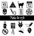 friday the 13 bad luck day icons set eps10