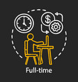 full-time chalk icon employment job recruitment vector image vector image