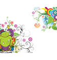 funny monsters with floral vector image vector image