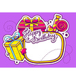 gift boxes and confection with frame on p vector image