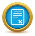 Gold no document icon vector image vector image