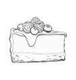 hand drawn piece cheesecake decorated vector image vector image